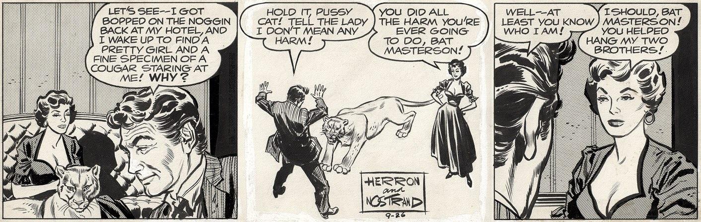 Original till en dagsstripp med Bat Masterson, med manus av France Herron och teckningar av Howard Nostrand, från 26 september 1959. ©Columbia