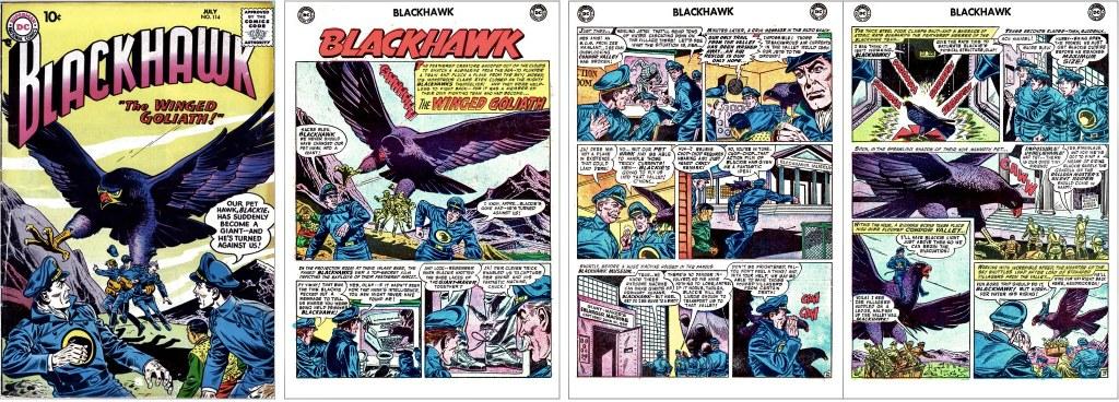 Omslag till Blackhawk #114 (1957) och inledande sidor ur episoden The Winged Goliath. ©DC/National