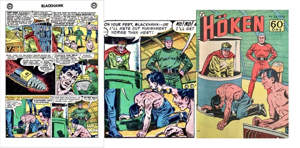 Omslaget till Höken nr 24/58 baserar sig på ett par serierutor från sjunde sidan i episoden. ©Formatic/DC/National