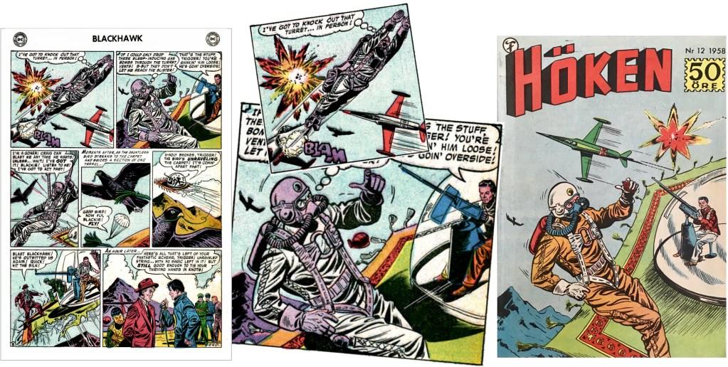 Omslaget till Höken nr 12/58 baserar sig på ett par serierutor från åttonde och sista sidan i episoden. ©Formatic/DC/National