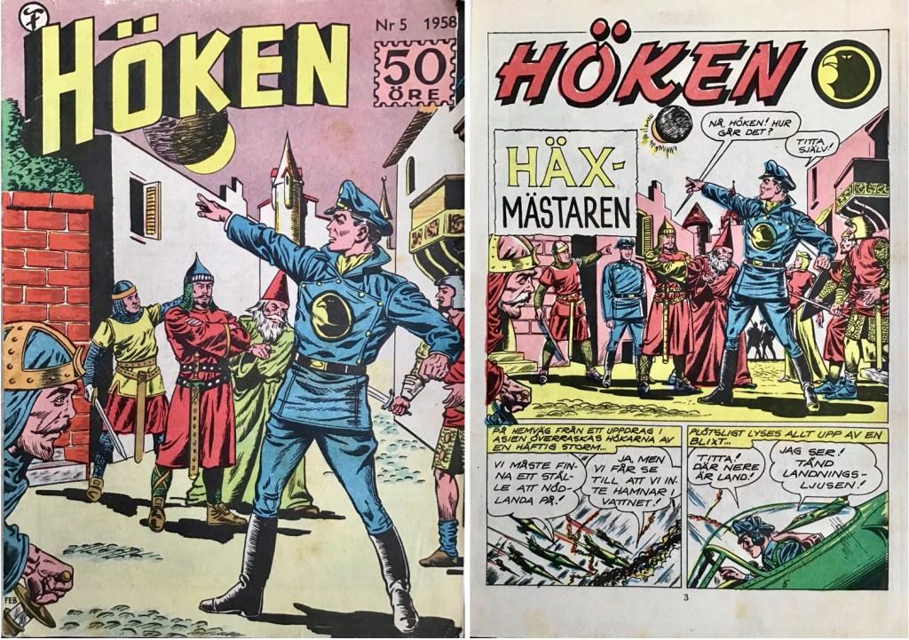 Omslag till Höken nr 5, 1958 och inledande sida ur Höken-serien. ©Formatic/EuropaPress