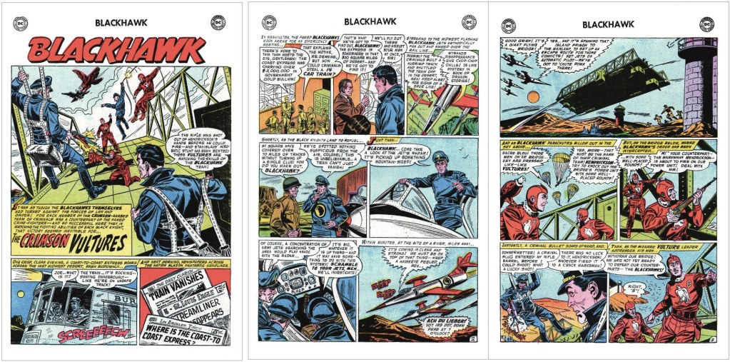 Inledande sidor ur episoden The Crimson Vultures från Blackhawk #112 (1957). ©DC/National
