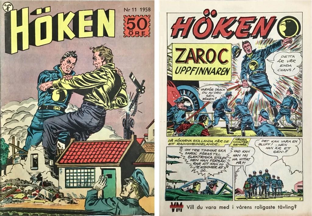 Omslag till Höken nr 11, 1958 och inledande sida ur Höken-serien. ©Formatic/EuropaPress