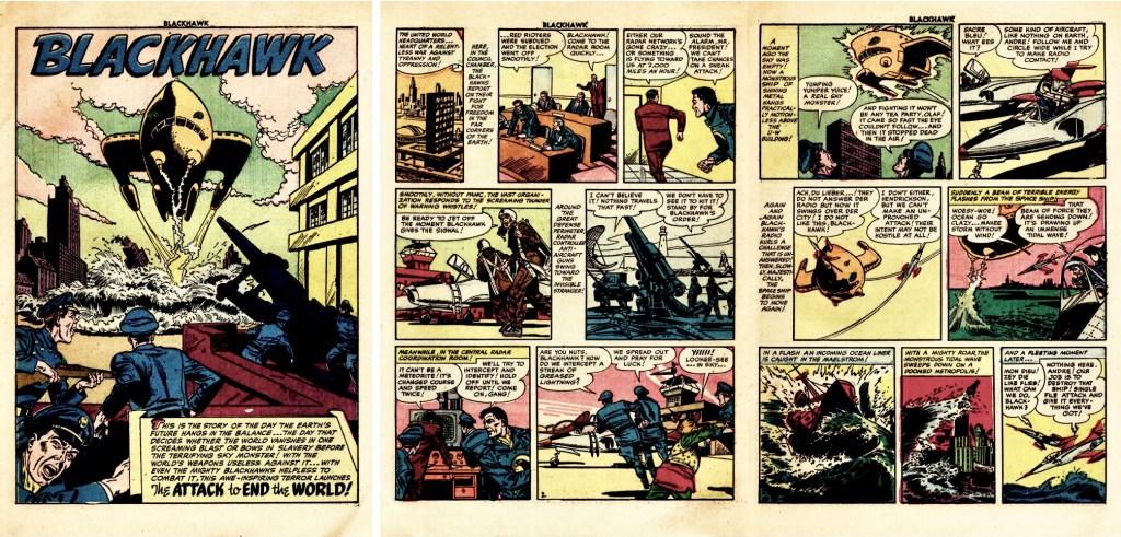 Inledande uppslag ur episoden The Attack to End the World från Blackhawk #63 (1953). ©Quality/Comic Favorites