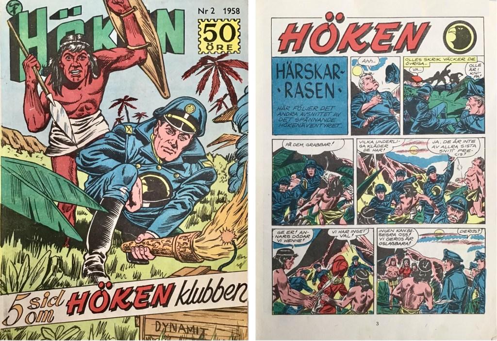 Omslag till Höken nr 2, 1958 och inledande sida ur Höken-serien. ©Formatic/EuropaPress
