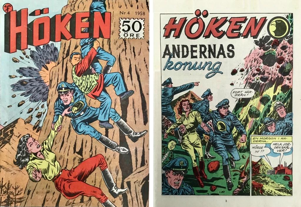 Omslag till Höken nr 4, 1958 och inledande sida ur Höken-serien. ©Formatic/EuropaPress