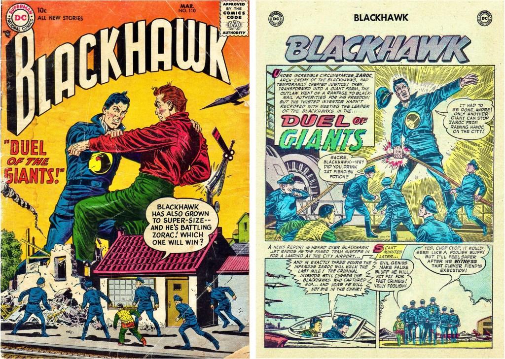 Omslag till Blackhawk #110 (1957) och inledande sida ur episoden Duel of Giants. ©DC/National