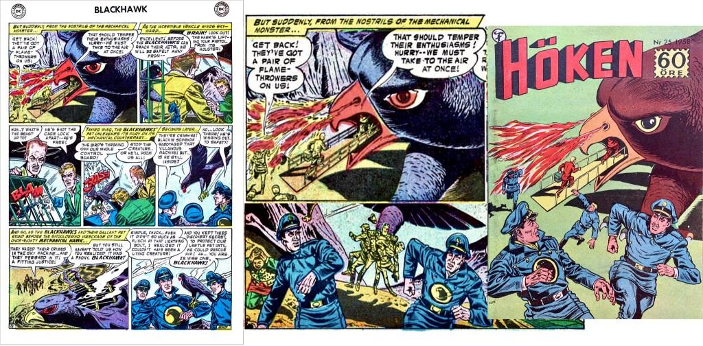 Omslaget till Höken nr 25/58 baserar sig på ett par serierutor från första och åttonde sidan i episoden. ©Formatic/Quality/Comic Favorites