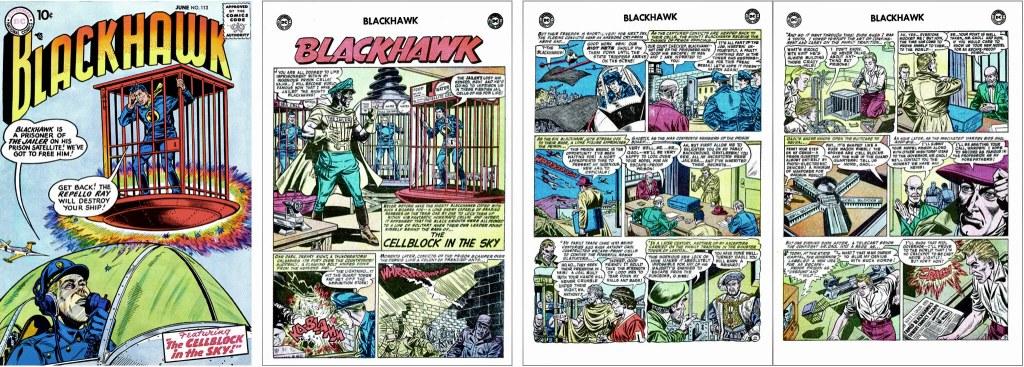 Omslag till Blackhawk #113 (1957) och inledande sidor ur episoden The Cellblock in the Sky. ©DC/National