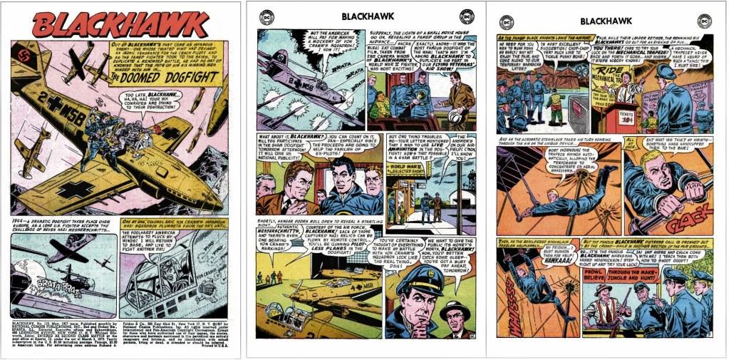 Inledande sidor ur episoden The Doomed Dogfight från Blackhawk #112 (1957). ©DC/National