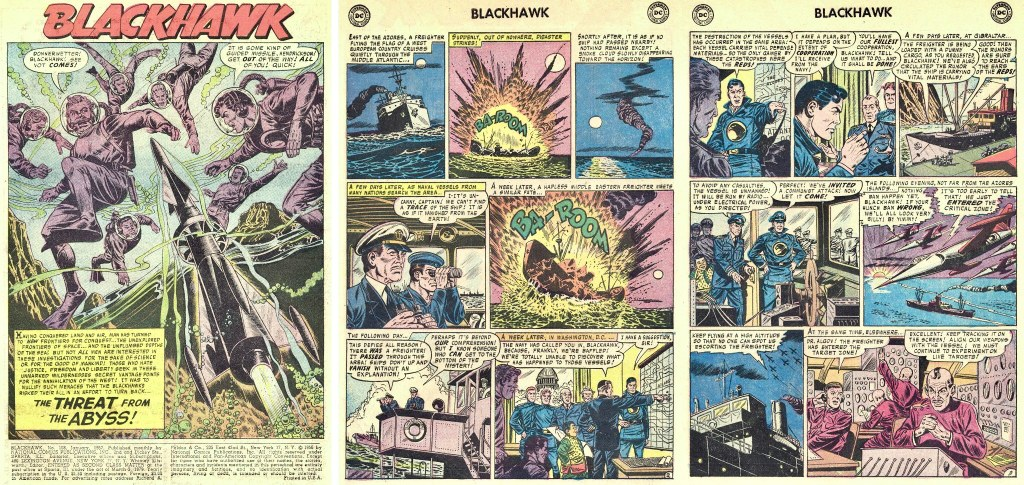 Inledande sidor ur episoden The Threat from the Abyss från Blackhawk #108 (1957). ©DC/National