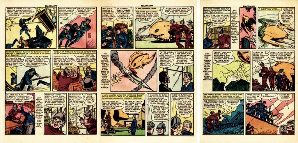 Motsvarande sidor i original ur Blackhawk #63 (1953). ©Quality/Comic Favorites