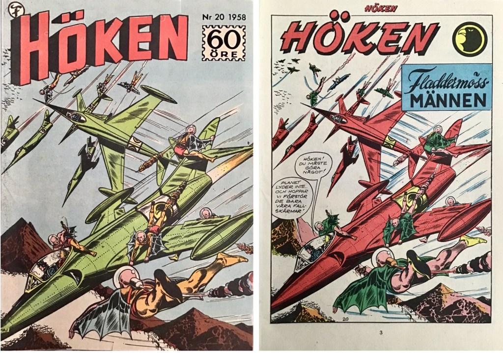 Omslag till Höken nr 20, 1958 och inledande sida ur Höken-serien. ©Formatic/EuropaPress