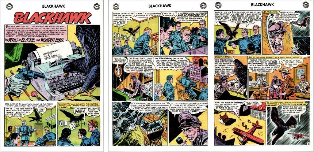 Inledande sidor ur episoden The Perils of Blackie, the Wonder Bird från Blackhawk #111 (1957). ©DC/National