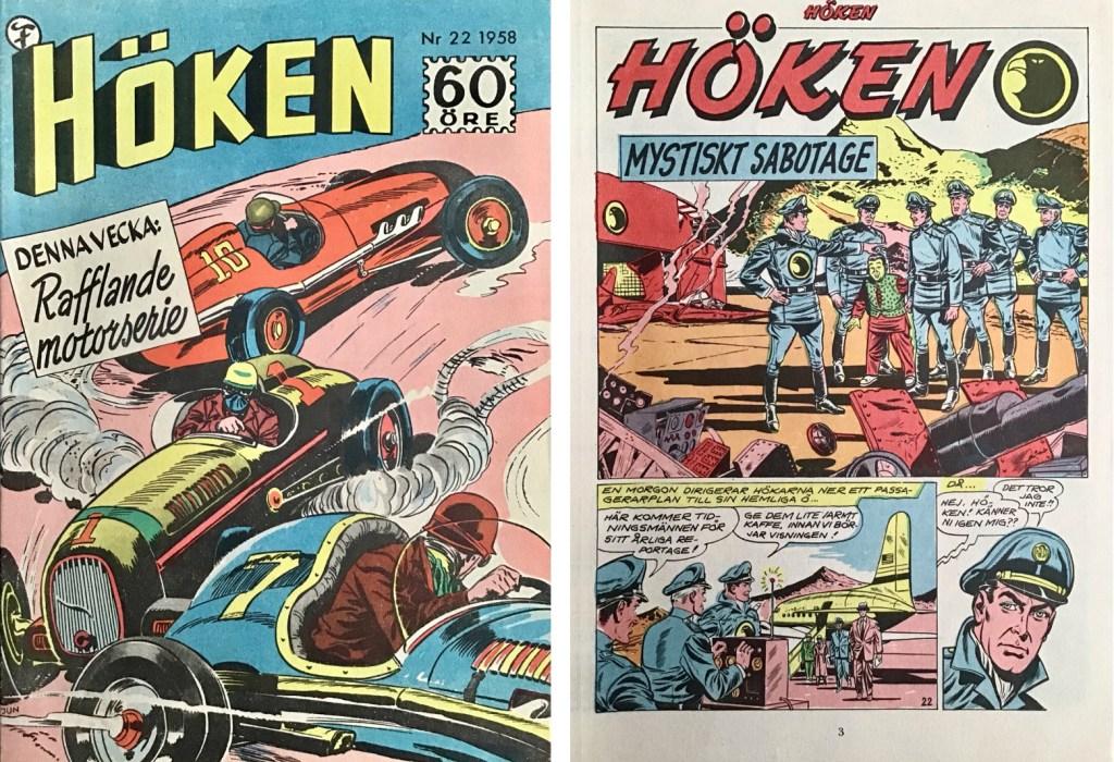 Omslag till Höken nr 22, 1958 och inledande sida ur Höken-serien. ©Formatic/EuropaPress