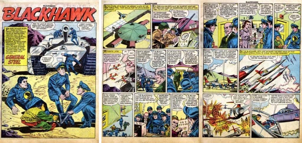 Inledande sidor ur episoden General Steel från Blackhawk #101 (1956). ©Quality/Comic Favorites