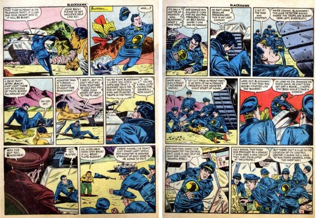 Motsvarande sidor ur Blackhawk #101 (1956). ©Quality/Comic Favorites