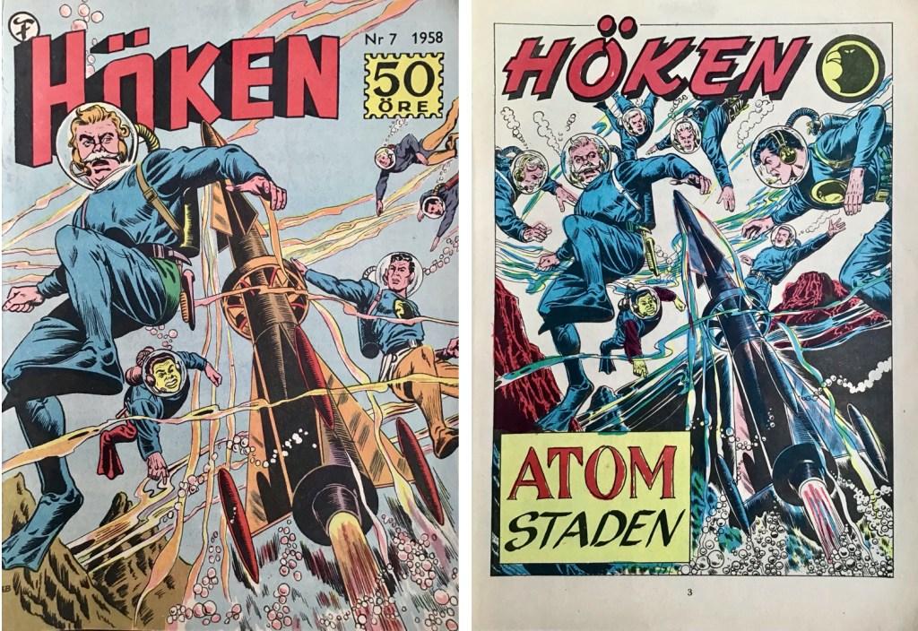 Omslag till Höken nr 7, 1958 och inledande sida ur Höken-serien. ©Formatic/EuropaPress