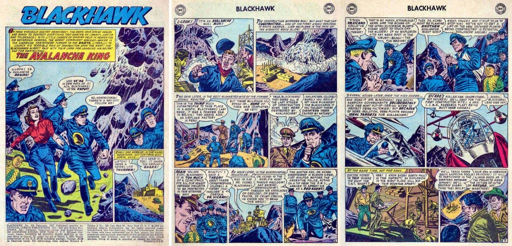 Inledande sidor ur episoden The Avalanche King från Blackhawk #109 (1957). ©DC/National