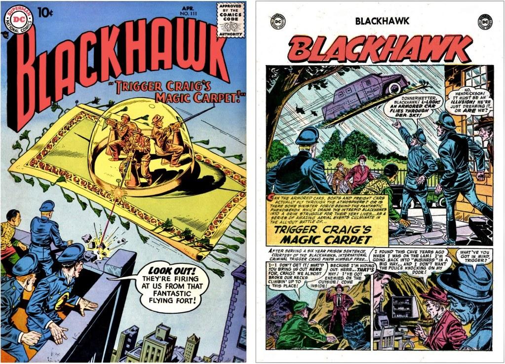 Omslag till Blackhawk #111 (1957) och inledande sida ur episoden Trigger Craig's Magic Carpet. ©DC/National