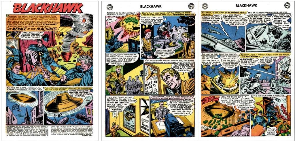 Inledande sidor ur episoden The Menace of the Machines från Blackhawk #111 (1957). ©DC/National