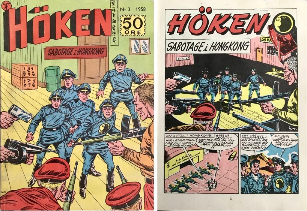 Omslag till Höken nr 3, 1958 och inledande sida ur Höken-serien. ©Formatic/EuropaPress