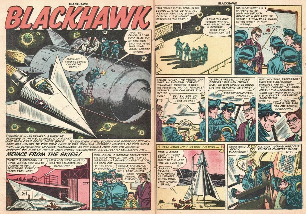 Inledande uppslag ur episoden Menace From the Skies från Blackhawk #103 (1956). ©Quality/Comic Favorites