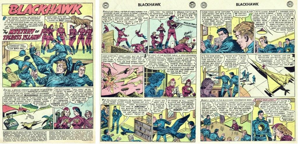 Inledande sidor ur episoden The Mystery of Tigress Island från Blackhawk #110 (1957). ©DC/National