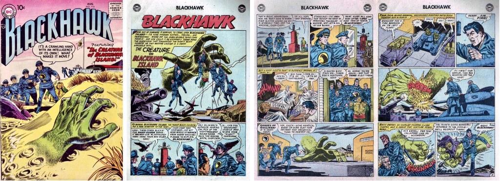 Omslag till Blackhawk #116 (1957) och inledande sidor ur episoden The Creature on Blackhawk Island. ©DC/National