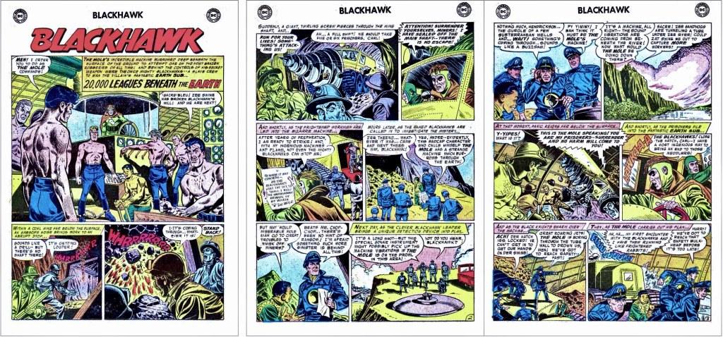 Inledande sidor ur episoden 20,000 Leagues Beneath the Earth från Blackhawk #114 (1957). ©DC/National
