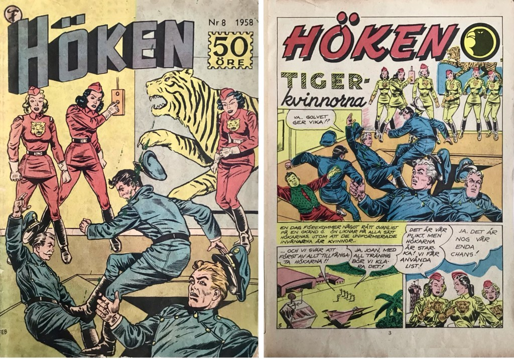 Omslag till Höken nr 8, 1958 och inledande sida ur Höken-serien. ©Formatic/EuropaPress