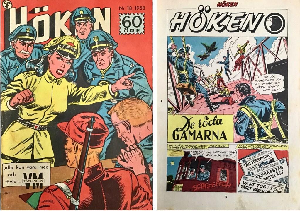 Omslag till Höken nr 18, 1958 och inledande sida ur Höken-serien. ©Formatic/EuropaPress