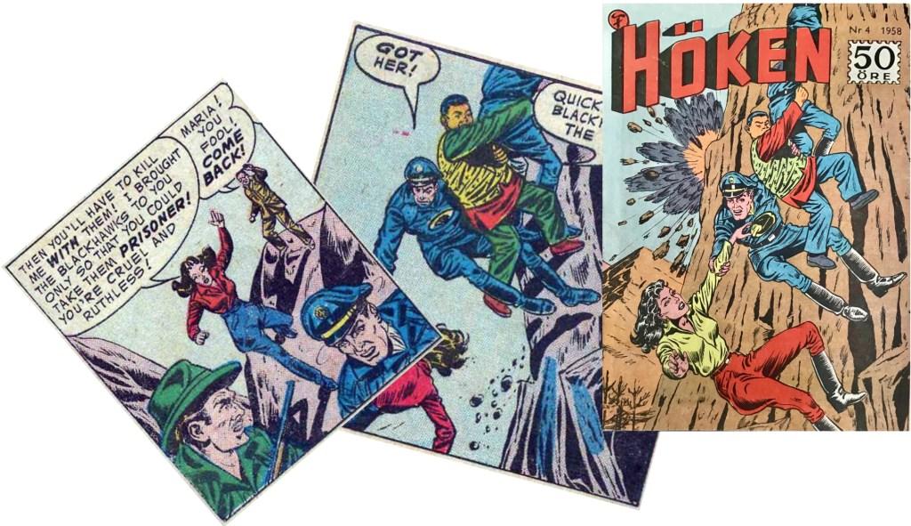 Omslaget till Höken nr 4/58 baserar sig på ett par serierutor från sjätte  och sjunde sidorna i episoden. ©Formatic/DC/National