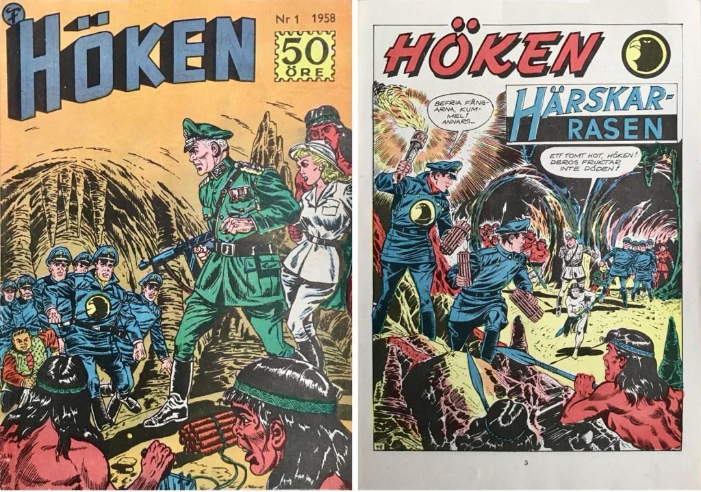 Omslag till Höken nr 1, 1958 och inledande sida ur Höken-serien. ©Formatic/EuropaPress