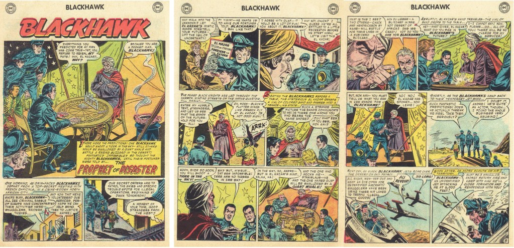 Inledande sidor ur episoden The Prophet of Disaster från Blackhawk #110 (1957). ©DC/National