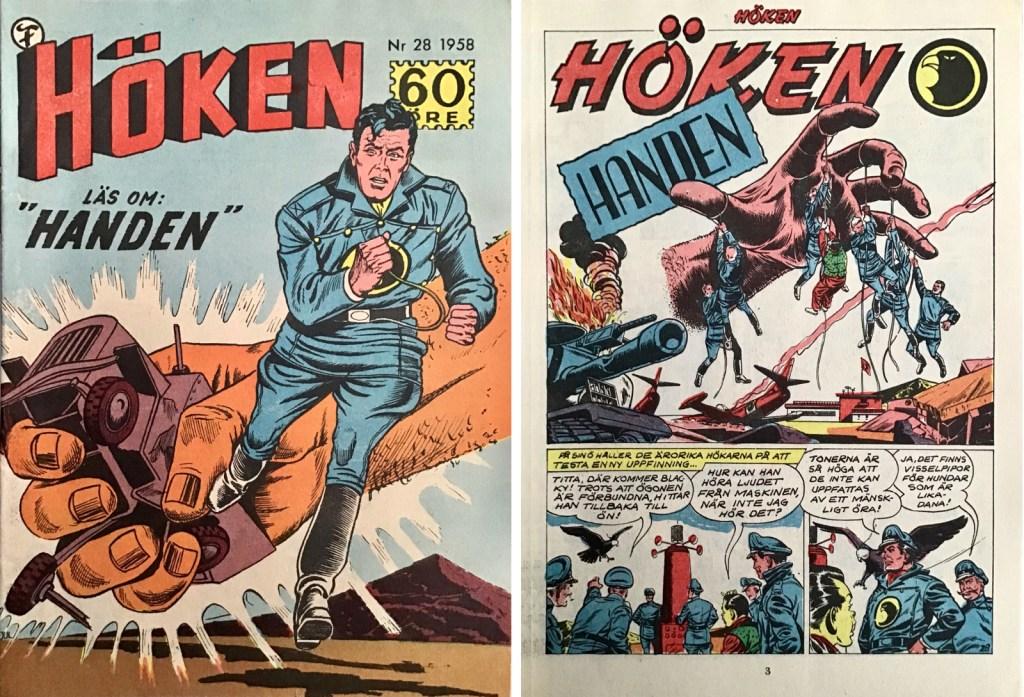Omslag till Höken nr 28, 1958 och inledande sida ur Höken-serien. ©Formatic/EuropaPress