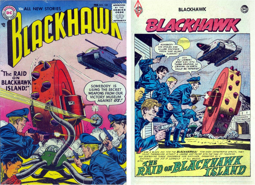 Omslag till Blackhawk #109 (1957) och inledande sida ur episoden The Raid on Blackhawk Island. ©DC/National