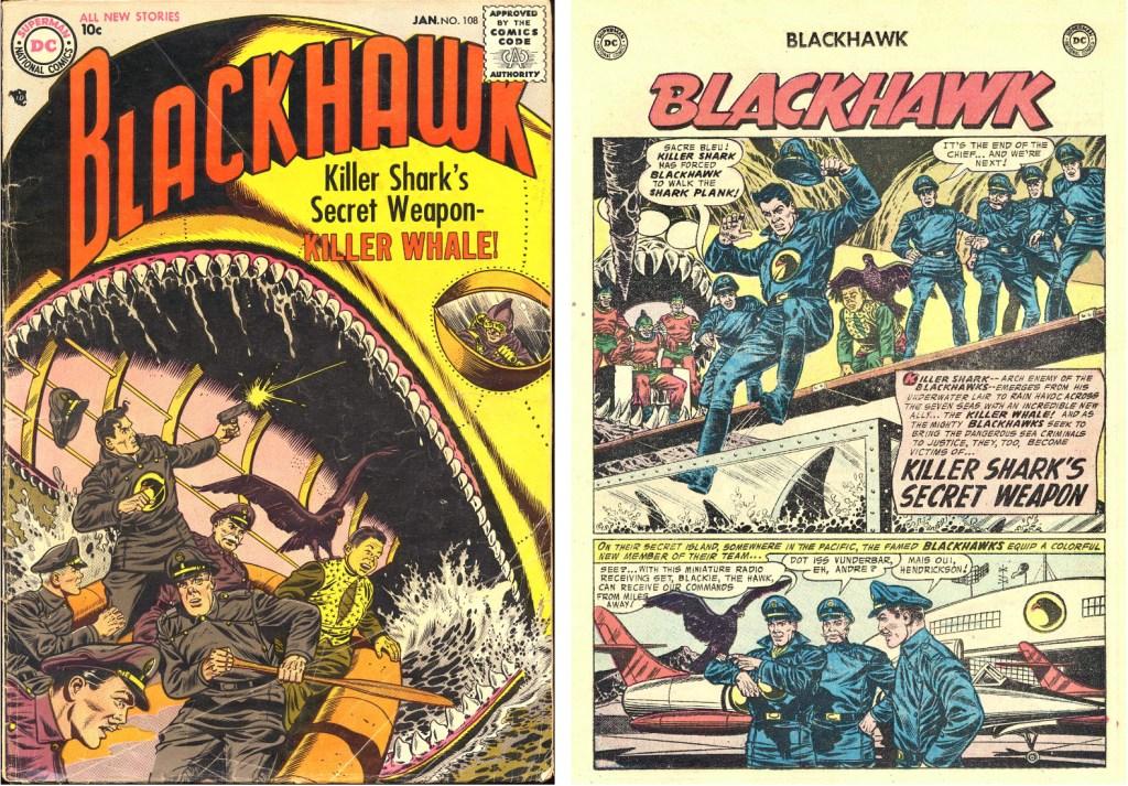 Omslag till Blackhawk #108 (1957) och inledande sida ur episoden Killer Shark's Secret Weapon. ©DC/National