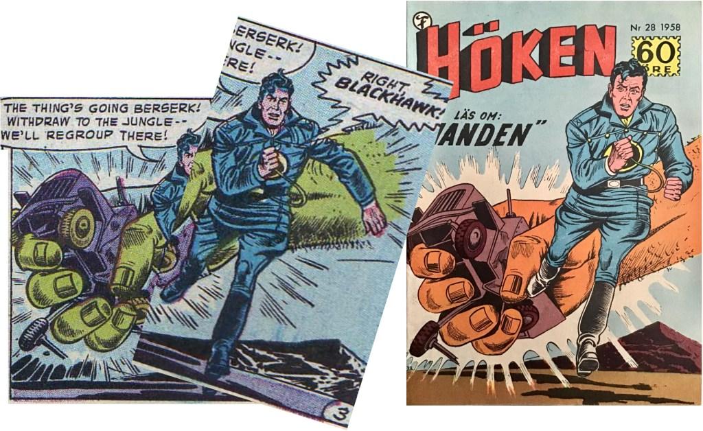 Den sista serierutan på tredje sidan i episoden har gett inspiration till omslaget för Höken nr 28/58. ©Formatic/Quality/Comic Favorites