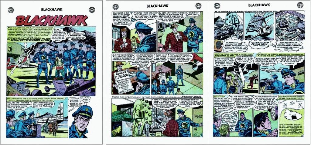 Inledande sidor ur episoden The Saboteur of Blackhawk Island från Blackhawk #113 (1957). ©DC/National
