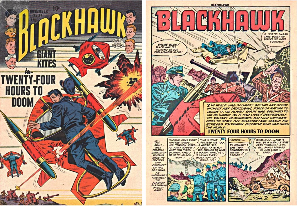Omslag till Blackhawk #82 och inledande sida ur episoden Twenty Four Hours to Doom. ©Quality/Comic Favorites