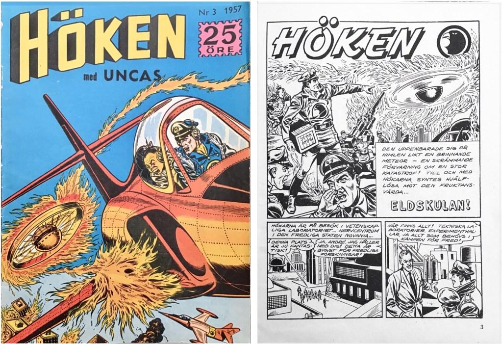 Omslag till Höken nr 3, 1957 och inledande sida ur Höken-serien. ©Formatic/EuropaPress