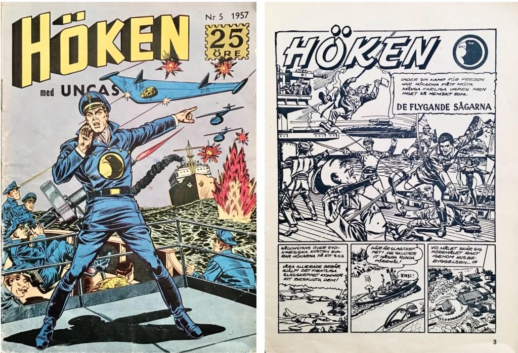 Omslag till Höken nr 5, 1957 och inledande sida ur Höken-serien. ©Formatic/EuropaPress