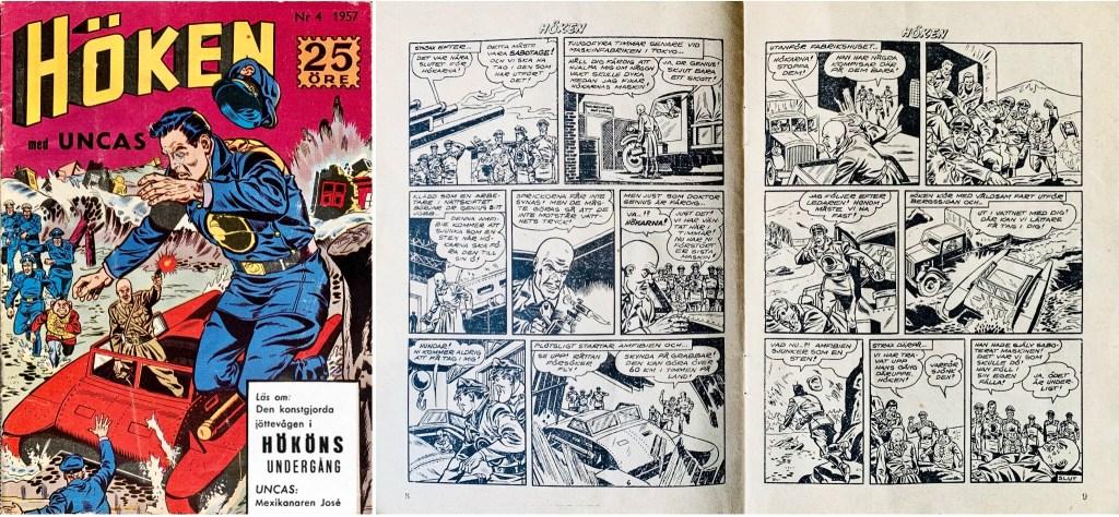 Omslag till Höken nr 4, 1957 och avslutande uppslag ur Höken-serien. ©Formatic/EuropaPress