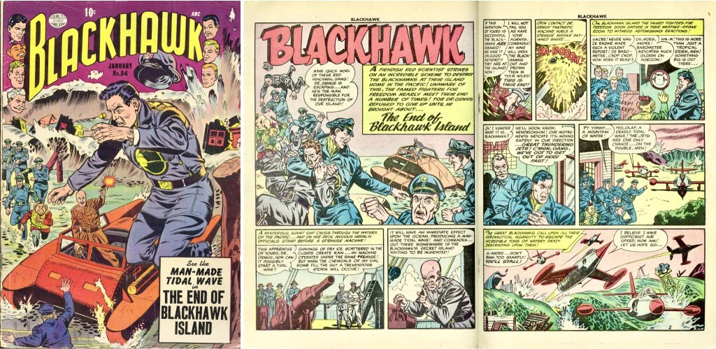 Omslag till Blackhawk #84 och inledande uppslag ur episoden The end of Blackhawk Island. ©Quality/Comic Favorites