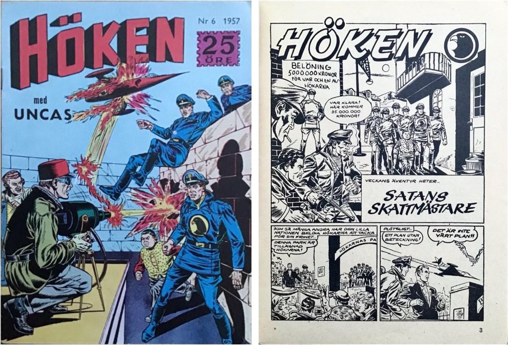 Omslag till Höken nr 6, 1957 och inledande sida ur Höken-serien. ©Formatic/EuropaPress