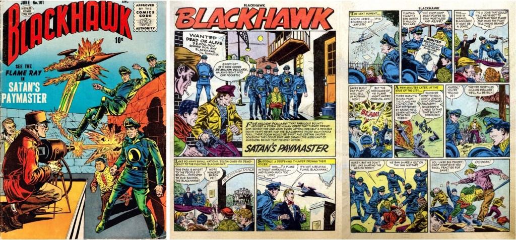 Omslag till Blackhawk #101 och inledande uppslag ur episoden Satan's Paymaster. ©Quality/Comic Favorites