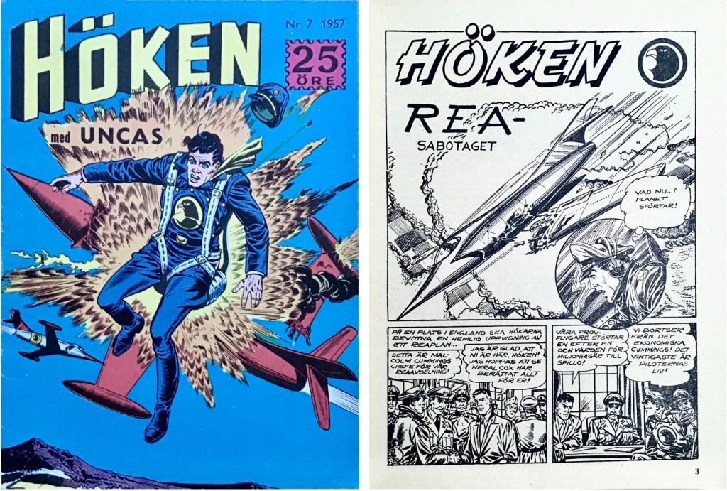 Omslag till Höken nr 7, 1957 och inledande sida ur Höken-serien. ©Formatic/EuropaPress