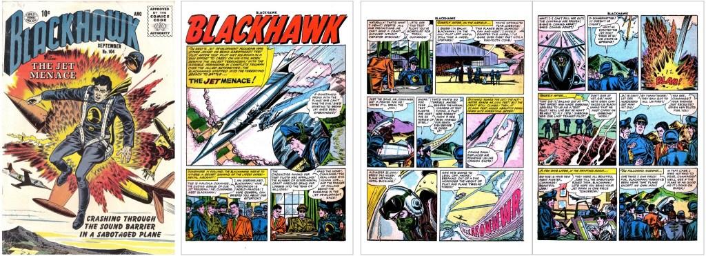 Omslag till Blackhawk #104 och inledande sidor ur episoden The Jet Menace. ©Quality/Comic Favorites
