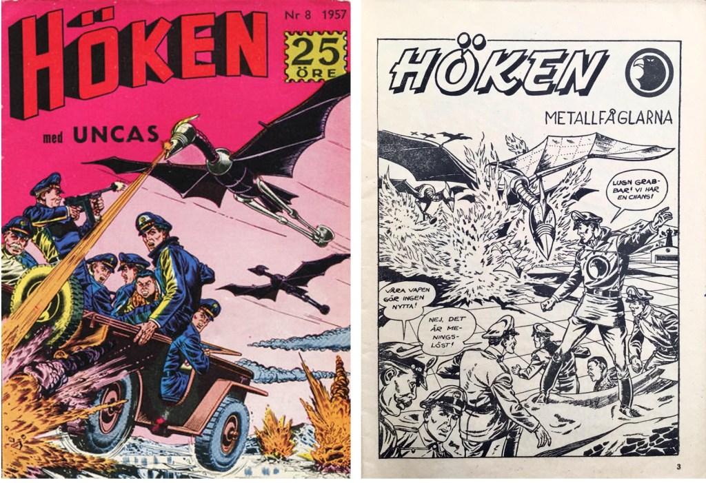 Omslag till Höken nr 8, 1957 och inledande sida ur Höken-serien. ©Formatic/EuropaPress